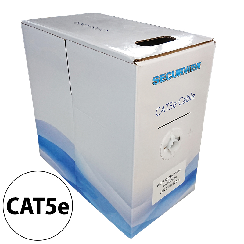 CAT5E Solid Core Cable Unshielded (White) 305m Pullbox CAT5EWH