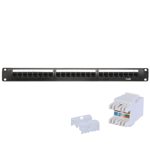 24-Port CAT6 Patch Panel + Keystones (1U)