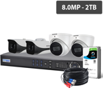 Professional 8 Channel 8.0MP HDCVI Surveillance Kit (4 x Fixed Cameras, 2TB HDD)