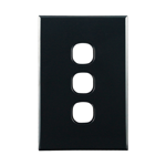 Basix S Series Grid Plate 3 Gang - Black