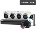 Compact 8 Channel 8.0MP HDCVI Surveillance Kit (4 x Fixed Cameras, 2TB HDD)