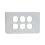 Grid Plate 6 Gang - White