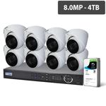 Professional 16 Channel 8.0MP HDCVI Surveillance Kit (8 x Motorised Cameras, 4TB HDD)